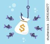 money bag on fishing hook and... | Shutterstock .eps vector #1093140077