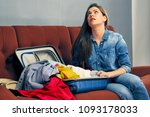 woman having troubles with...   Shutterstock . vector #1093178033