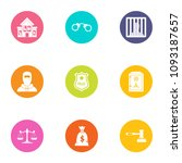 police force icons set. flat... | Shutterstock .eps vector #1093187657
