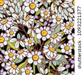 seamless pattern with chamomile ... | Shutterstock .eps vector #1093221377