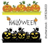 set of halloween pumpkins.... | Shutterstock .eps vector #109326023