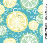 fruit pattern with lemon and... | Shutterstock .eps vector #1093263617