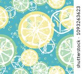 fruit pattern with lemon and... | Shutterstock .eps vector #1093263623