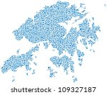 Map of Hong Kong - Asia - in a mosaic of blue circles. A number of 2833 little bubbles are accurately inserted into the mosaic. White background.