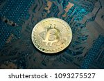 bitcoin on computer circuit... | Shutterstock . vector #1093275527