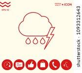 cloud thunderstorm lightning... | Shutterstock .eps vector #1093312643