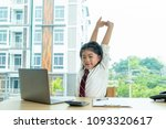cute girl sitting in the room... | Shutterstock . vector #1093320617