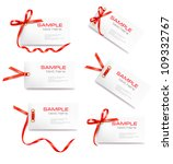 Set Of Card Note With Red Gift...