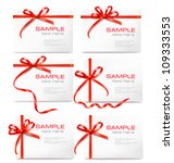 set of card note with red gift... | Shutterstock .eps vector #109333553