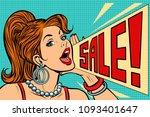 woman announcing sale. pop art... | Shutterstock .eps vector #1093401647
