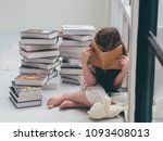 little girl with a meny books ... | Shutterstock . vector #1093408013