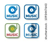 music stickers. set of 4... | Shutterstock .eps vector #1093447643