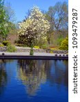 Small photo of MONTREAL CANADA 05 15 2018: Montreal's botanical reflecting pool garden is considered to be one of the most important botanical gardens in the world due to the extent of its collections