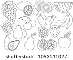 coloring book. fruits and... | Shutterstock .eps vector #1093511027