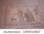 Small photo of Kato Paphos Archaeological Park - fragment of ancient mosaic, House of Theseus, labyrinth, Hippolytus and Phaedra. Large villa was residence of the Roman proconsul or governor. UNESCO Heritage Site