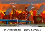 concept of human disaster.... | Shutterstock .eps vector #1093529033