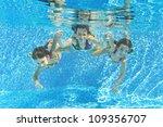 happy smiling family underwater ... | Shutterstock . vector #109356707