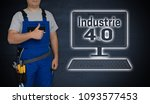 industry 4.0 and craftsman with ... | Shutterstock . vector #1093577453