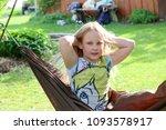 little girl having a rest in a...   Shutterstock . vector #1093578917