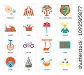 set of 16 simple editable icons ... | Shutterstock .eps vector #1093585877