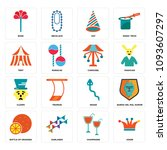 set of 16 simple editable icons ... | Shutterstock .eps vector #1093607297