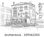 Venice - Grand Canal. Ancient building & gondola. Vector drawing - stock vector