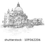 Venice - Cathedral of Santa Maria della Salute - vector drawing - stock vector