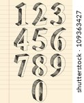 hand drawn 3d numbers vector... | Shutterstock .eps vector #109363427