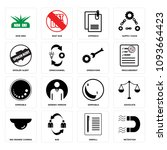 set of 16 simple editable icons ... | Shutterstock .eps vector #1093664423
