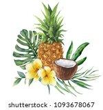 watercolor tropical bouquet... | Shutterstock . vector #1093678067