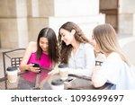 cute young girl showing a...   Shutterstock . vector #1093699697