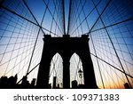 brooklyn bridge in new york at... | Shutterstock . vector #109371383
