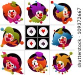 set of eight clown portraits... | Shutterstock .eps vector #109372667
