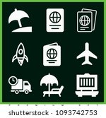 set of 9 travel filled icons...