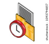 folder document with time clock ...