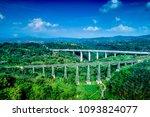Small photo of Aerial View of Parallel Cikubang Train Bridge and Car Bridge Bandung Indonesia