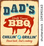 Vintage Metal Sign   Dad's Bbq...
