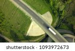 aerial top view of white truck... | Shutterstock . vector #1093972673