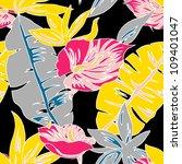 seamless exotic flower pattern... | Shutterstock .eps vector #109401047