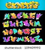 graffiti font alphabet vector...