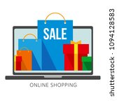 bright flat shopping bags and... | Shutterstock .eps vector #1094128583