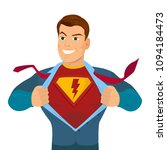 superhero tearing shirt and... | Shutterstock .eps vector #1094184473