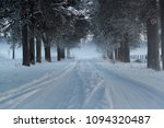 snowy forest alley in the... | Shutterstock . vector #1094320487