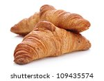 Croissants, viennoiserie bread rolls - stock photo