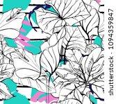 tropical  modern stripes motif. ... | Shutterstock .eps vector #1094359847
