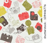 vintage photo cameras. seamless pattern - stock vector