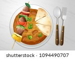 spicy indian curry with kebab... | Shutterstock .eps vector #1094490707