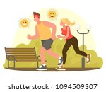 couple running in the park. the ... | Shutterstock .eps vector #1094509307