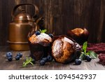 vegan banana oatmeal cupcakes... | Shutterstock . vector #1094542937