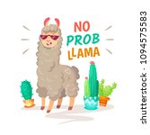 cool cartoon doodle alpaca... | Shutterstock .eps vector #1094575583